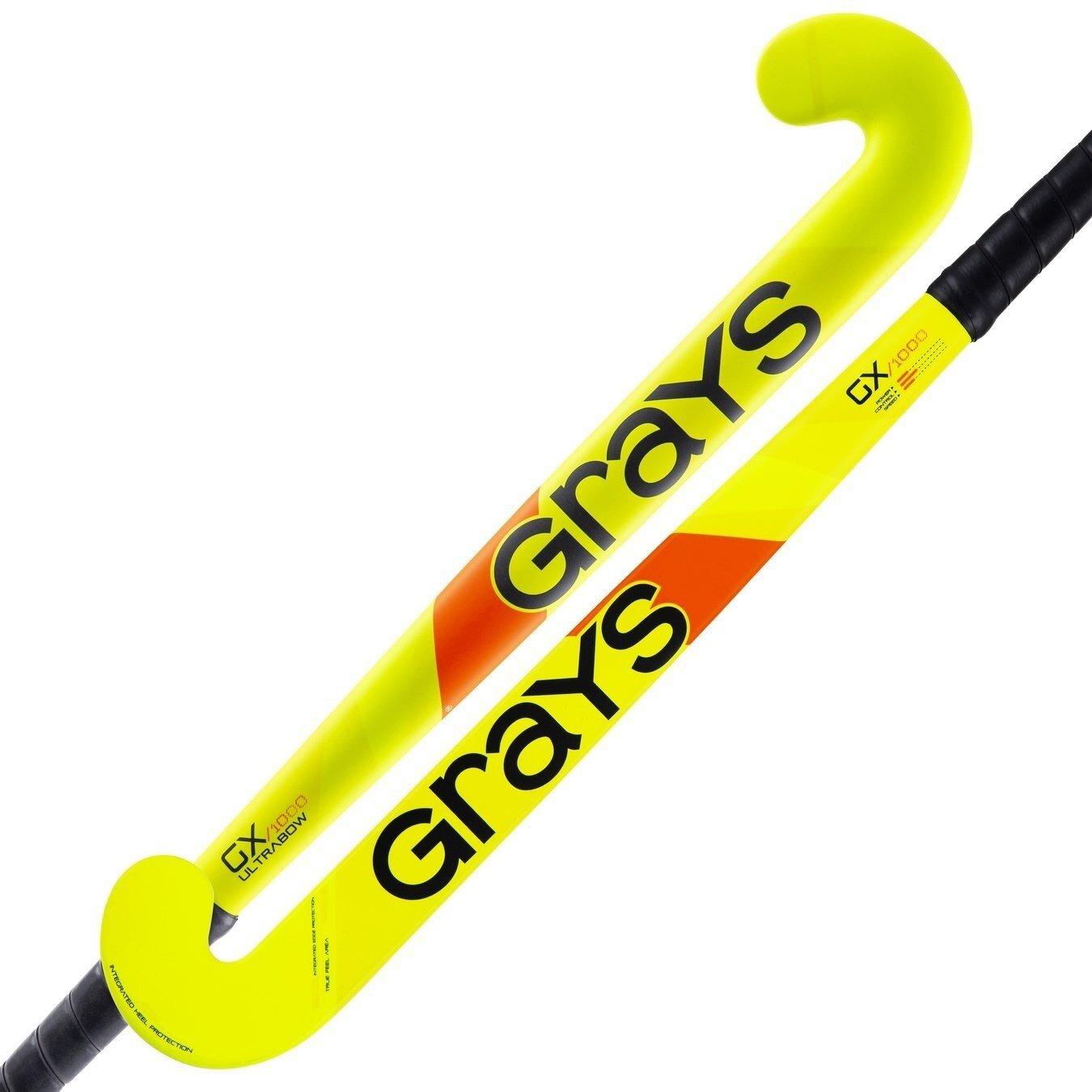 2021/22 Grays GX 1000 Ultrabow Junior Hockey Stick - Fluo Yellow